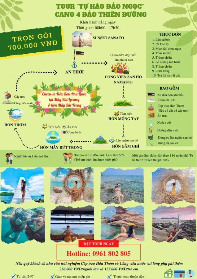 LICH TRINH TOUR 4 DAO CAP NHAT 25.9 _ Tour 4 Đảo - Mây Rút Luxury Bằng Cano