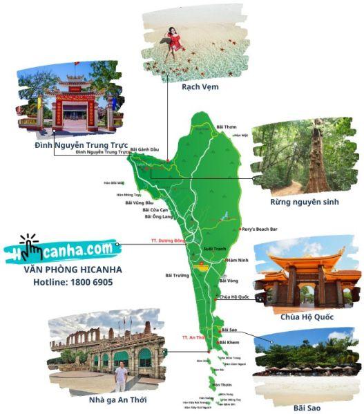 Ban do thue xe tham quan Dao Phu Quoc Hicanha _ Thuê Xe ÔTô Bắc Đông Nam Đảo Phú Quốc Có Tài Xế