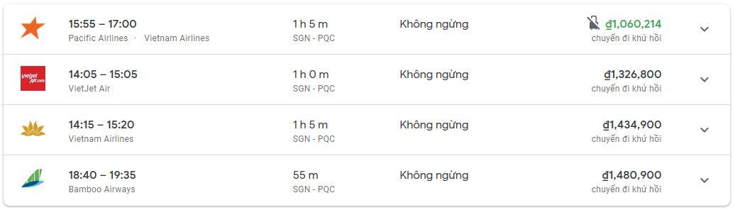 Bảng giá tham khảo vé máy bay từ TpHCM