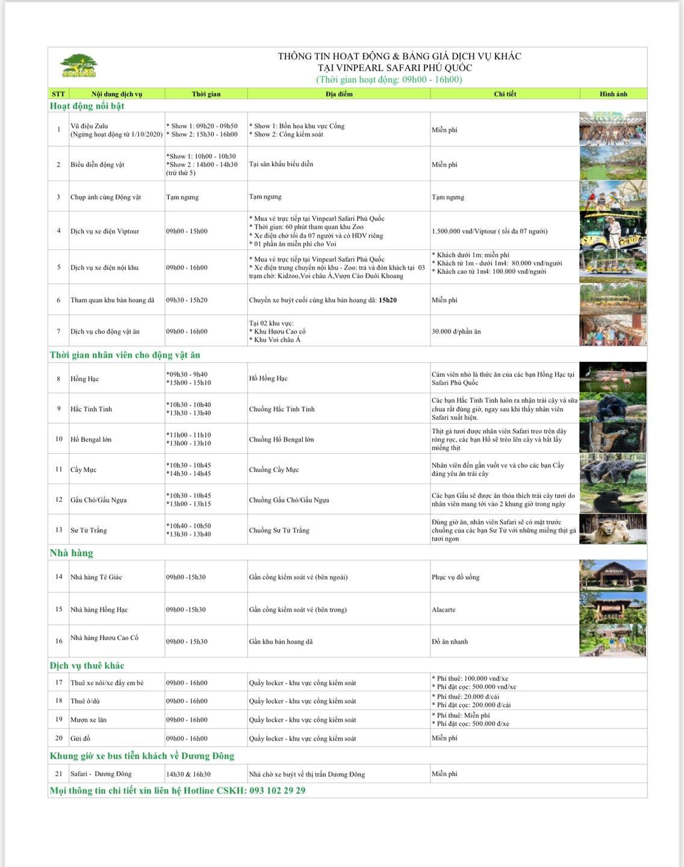 Dịch vụ và hoạt động tại Safari Phú Quốc
